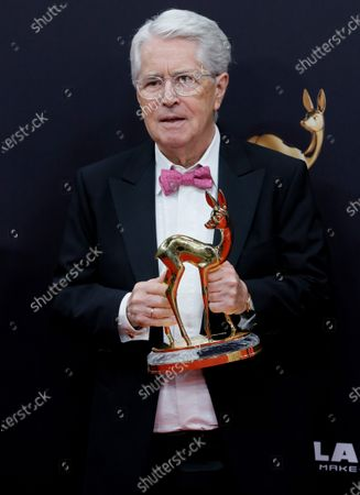 German TV host Frank Elstner poses with his 'life's work' award at the 71st annual Bambi awards ceremony in Baden Baden, Germany, 21 November 2019. The awards recognize excellence in international media and television.