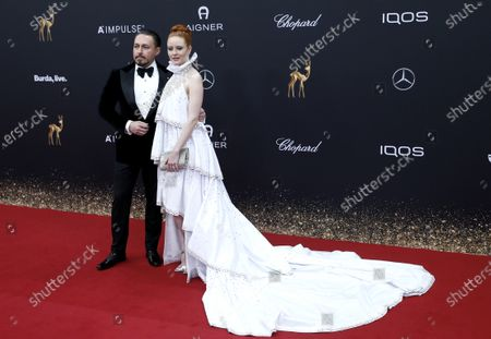 Barbara Meier and Klemens Hallmann (R) attend the 71th annual Bambi awards ceremony in Baden Baden, Germany, 21 November 2019. The awards recognize excellence in international media and television.