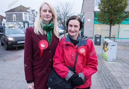 Editorial photo of Labour Party candidate Mhairi Threlfall and Nia Griffith visit Filton and Bradley Stoke in Gloucestershire, UK - 21 Nov 2019