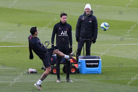 Angel Di Maria and Julian Draxler during a PSG training session