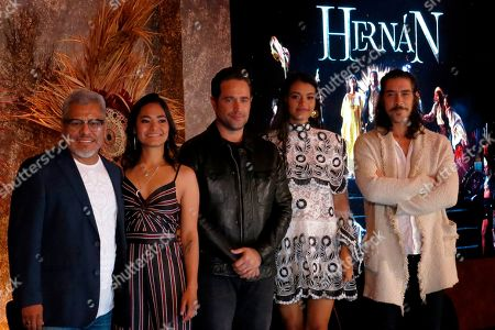 """Actors Dagoberto Gama, from left, Mabel Cadena, Michel Brown, Ishbel Bautista and Oscar Jaenada of the Amazon Prime series """"Hernan,"""" pose for a group photo during a press conference in Mexico City. The series premieres on Amazon Prime on Friday, Nov. 22nd on the History Channel Latin America and on Sunday, Nov. 24th on TV Azteca"""