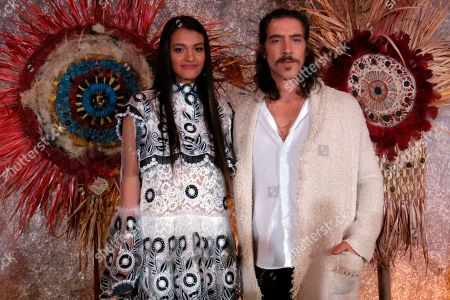 """Actors Ishbel Bautista, who portrays Malinche, and Oscar Jaenada, who portrays Hernan Cortes in the Amazon Prime series """"Hernan,"""" pose for a photo during a press conference in Mexico City. The series premieres on Amazon Prime on Friday, Nov. 22nd on the History Channel Latin America and on Sunday, Nov. 24th on TV Azteca"""