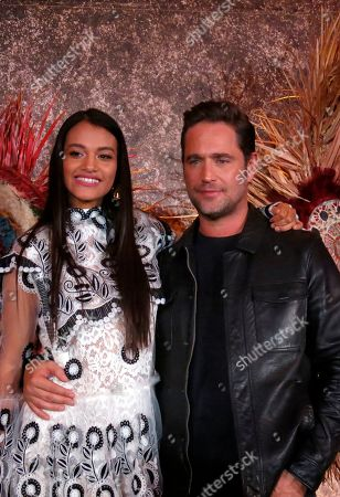 """Stock Image of Ishbel Bautista, Michel Brown. Mexican actress Ishbel Bautista, who portrays Malinche, and Argentine actor Michel Brown, who portrays Spanish conquistador Pedro de Alvarado in the Amazon Prime series """"Hernan,"""" pose for a photo during a press conference in Mexico City. The series premieres on Amazon Prime on Friday, Nov. 22nd on the History Channel Latin America and on Sunday, Nov. 24th on TV Azteca"""