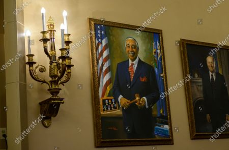 The Impeachment hearings are being held in room 1100 of the Longworth House Office Building on Capitol Hill. Usually it is the domain of the US House Ways and Means Committee where US Representative Charlie Rangel (Democrat of New York) served as chairman before his fall from grace in a multitude of scandals. Even so, a portrait of him hangs on the wall in the room. This photos was made prior to Ambassador Gordon Sondland, United States Ambassador to the European Union, giving testimony during the US House Permanent Select Committee on Intelligence public hearing as they investigate the impeachment of US President Donald J. Trump on Capitol Hill in Washington, DC.