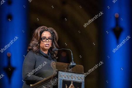 Oprah Winfrey speaks during the Celebration of the Life of Toni Morrison, at the Cathedral of St. John the Divine in New York