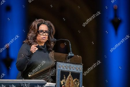 Oprah Winfrey speaks during the Celebration of the Life of Toni Morrison, at the Cathedral of St. John the Divine in New York. Morrison died in August at age 88
