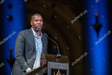 Author Ta-Nehisi Coates speaks during the Celebration of the Life of Toni Morrison, at the Cathedral of St. John the Divine in New York. Morrison died in August at age 88