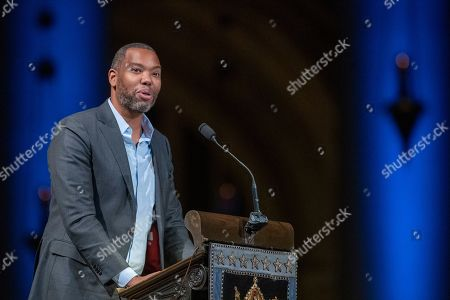Author Ta-Nehisi Coates speaks during the Celebration of the Life of Toni Morrison, at the Cathedral of St. John the Divine in New York. Morrison, a Nobel laureate, died in August at 88