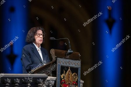Author Fran Lebowitz speaks during the Celebration of the Life of Toni Morrison, at the Cathedral of St. John the Divine in New York. Morrison, a Nobel laureate, died in August at 88