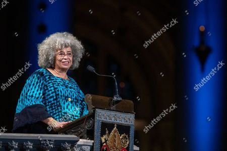 Author Angela Davis speaks during the Celebration of the Life of Toni Morrison, at the Cathedral of St. John the Divine in New York. Morrison, a Nobel laureate, died in August at 88