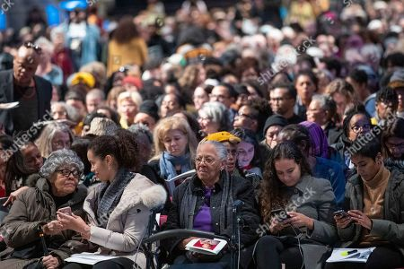 Mourners congregate before the start of the Celebration of the Life of Toni Morrison, at the Cathedral of St. John the Divine in New York