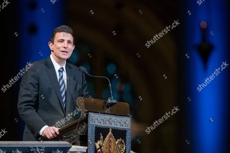 Stock Photo of Journalist and writer David Remnick speaks during the Celebration of the Life of Toni Morrison, at the Cathedral of St. John the Divine in New York. Morrison, a Nobel laureate, died in August at 88