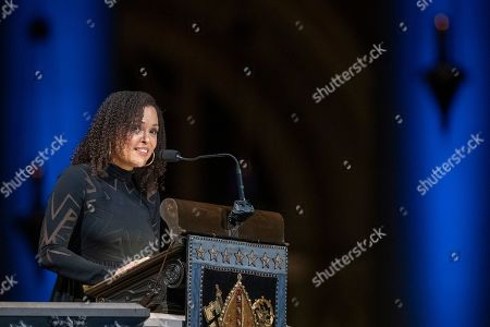 Stock Image of Author Jesmyn Ward speaks during the Celebration of the Life of Toni Morrison, at the Cathedral of St. John the Divine in New York. Morrison, a Nobel laureate, died in August at 88