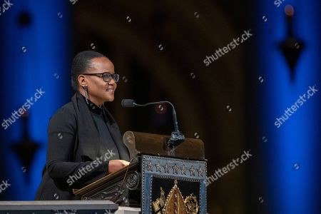 Author Edwidge Danticat speaks during the Celebration of the Life of Toni Morrison, at the Cathedral of St. John the Divine in New York. Morrison, a Nobel laureate, died in August at 88