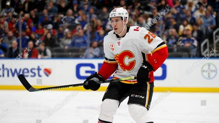 Calgary Flames' Michael Stone in action during the second period of an NHL hockey game against the St. Louis Blues, in St. Louis
