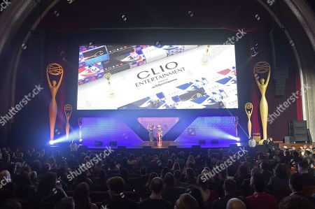 Ashley Falls, Nicole Purcell. Clio Entertainment Director, Ashley Falls, left, and Clio Entertainment President, Nicole Purcell walk on stage at the 2019 Clio Entertainment Awards, at the Dolby Theatre in Los Angeles