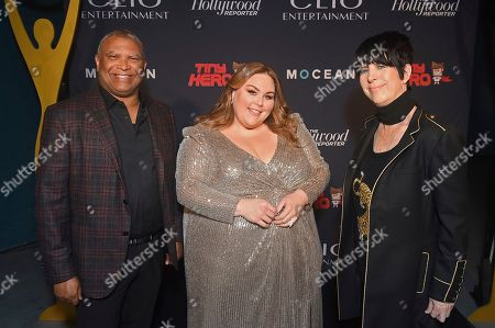 Reginald Hudlin, Chrissy Metz, Diane Warren. Reginald Hudlin, from left, Chrissy Metz, and Diane Warren pose with a Clio award at the 2019 Clio Entertainment Awards, at the Dolby Theatre in Los Angeles