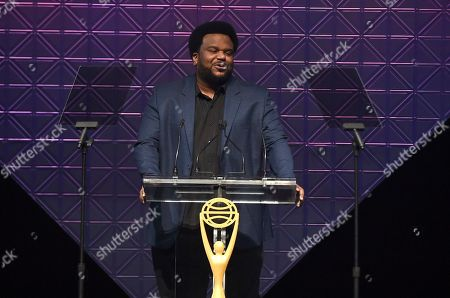 Host Craig Robinson speaks at the 2019 Clio Entertainment Awards, at the Dolby Theatre in Los Angeles