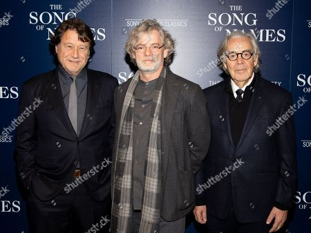 """Robert Lantos, Francois Girard, Howard Shore. Robert Lantos, from left, Francois Girard and Howard Shore attend a special screening of """"The Song of Names"""", hosted by Sony Pictures Classics and The Cinema Society, at Regal Essex Crossing, in New York"""