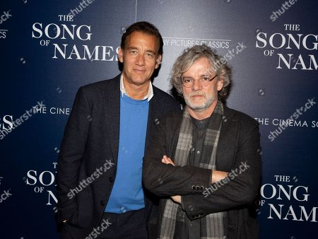 """Clive Owen, Francois Girard. Clive Owen, left, and Francois Girard, right, attend a special screening of """"The Song of Names"""", hosted by Sony Pictures Classics and The Cinema Society, at Regal Essex Crossing, in New York"""