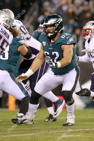Philadelphia Eagles center Jason Kelce (62) in action against the New England Patriots during an NFL football game, in Philadelphia. The Patriots defeated the Eagles 17-10