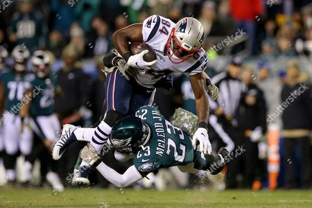Ben Watson, Rodney McLeod. New England Patriots tight end Ben Watson (84) in action against Philadelphia Eagles safety Rodney McLeod (23) during an NFL football game, in Philadelphia. The Patriots defeated the Eagles 17-10