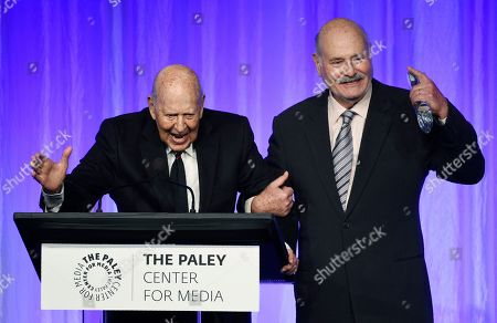 "Rob Reiner, Carl Reiner. Honoree Carl Reiner, left, is joined by his son Rob Reiner as he accepts his award at ""The Paley Honors: A Special Tribute to Television's Comedy Legends"" at the Beverly Wilshire Hotel, in Beverly Hills, Calif"