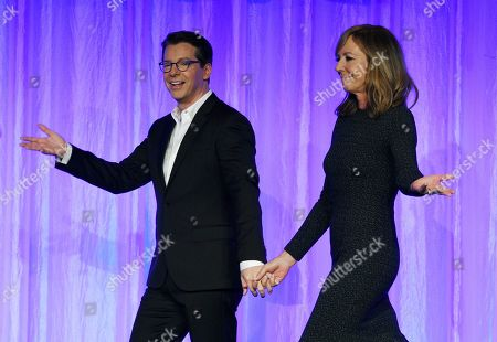 """Stock Photo of Sean Hayes, Allison Janney. Actors Sean Hayes, left, and Allison Janney walk onstage together at """"The Paley Honors: A Special Tribute to Television's Comedy Legends"""" at the Beverly Wilshire Hotel, in Beverly Hills, Calif"""