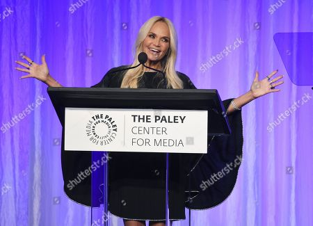 """Kristin Chenoweth addresses the audience at """"The Paley Honors: A Special Tribute to Television's Comedy Legends"""" at the Beverly Wilshire Hotel, in Beverly Hills, Calif"""