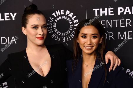 "Kat Dennings, Brenda Song. Actresses Kat Dennings, left, and Brenda Song pose together at ""The Paley Honors: A Special Tribute to Television's Comedy Legends"" at the Beverly Wilshire Hotel, in Beverly Hills, Calif"