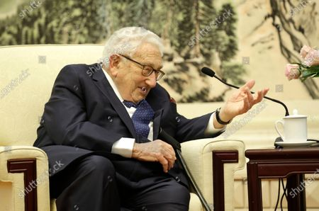 Former US Secretary of State Henry Kissinger speaks during a meeting with Chinese Foreign Minister Wang Yi (not pictured) at the Great Hall of the People in Beijing, China, 22 November 2019.