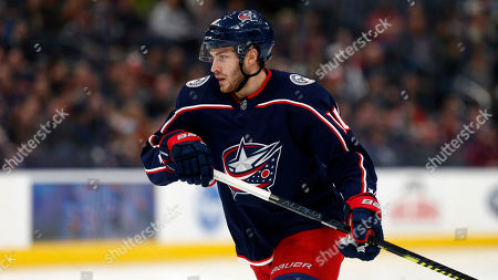 Columbus Blue Jackets forward Alexander Wennberg, of Sweden, is seen against the Detroit Red Wings during an NHL hockey game in Columbus, Ohio, . The Blue Jackets won 5-4