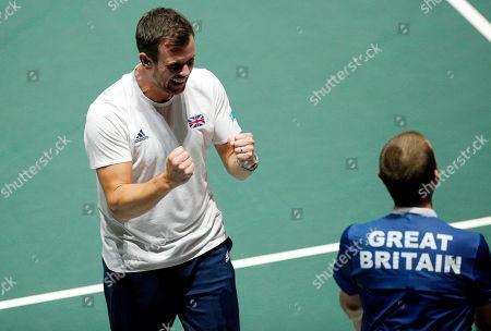 Captain of Great Britain Leon Smith celebrates versus Germany