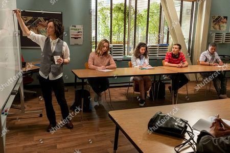 Sara Gilbert as Professor Judd and Keir Gilchrist as Sam Gardner