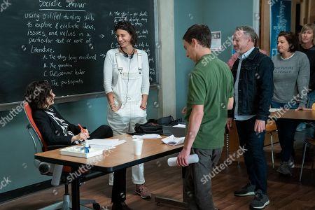 Sara Gilbert as Professor Judd, Rabia Rashid Writer/Creator, Keir Gilchrist as Sam Gardner and Mike Oppenhuizen Writer