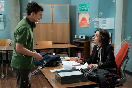 Keir Gilchrist as Sam Gardner and Sara Gilbert as Professor Judd