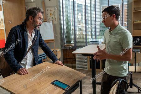Eric McCormack as Professor Shinerock and Keir Gilchrist as Sam Gardner