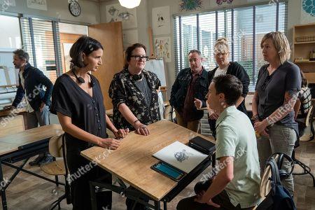 Eric McCormack as Professor Shinerock, Rabia Rashid Writer/Creator,Wendey Stanzler Director, Mike Oppenhuizen Writer and Keir Gilchrist as Sam Gardner