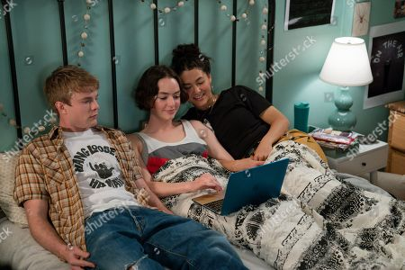 Stock Image of Graham Rogers as Evan Chapin, Brigette Lundy-Paine as Casey Gardner and Fivel Stewart as Izzie