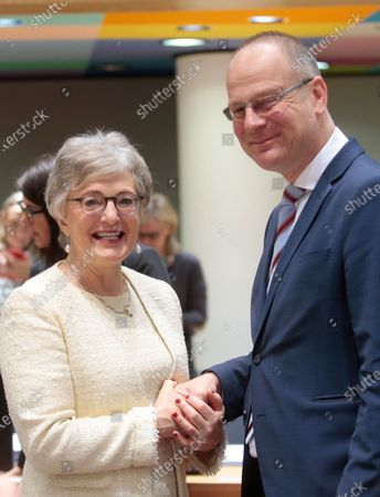 Stock Picture of Irish Minister for Children and Youth Affairs Katherine Zappone (L) and EU Commissioner for Culture Tibor Navracsics during a European Youth, Culture and Sports Council  in Brussels, Belgium, 22 November 2019.