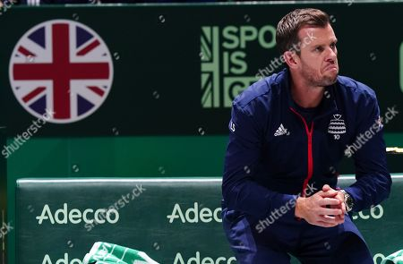 Great Britain's  captain Leon Smith with a look of dejection during Doubles match against Spain