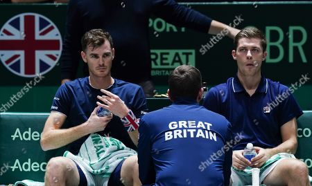 Stock Photo of Great Britain's  captain Leon Smith talks to Jamie Murray and Neal Skupski during Doubles match against Spain