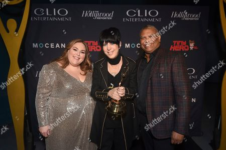 Reginald Hudlin, Chrissy Metz, Diane Warren. Chrissy Metz, from left, Honorary Clio Entertainment Award recipient, Diane Warren, and Reginald Hudlin celebrate at the 2019 Clio Entertainment Awards, at the Dolby Theatre in Los Angeles