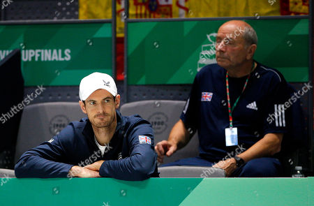 Kyle Edmund of Great Britain watches from the bench versus Spain