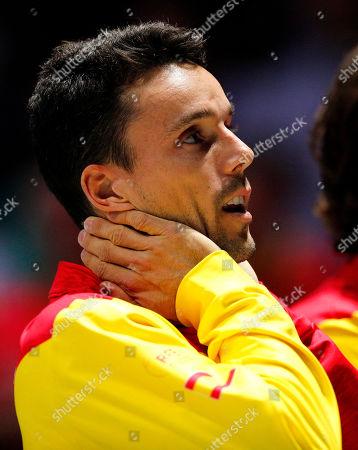 Roberto Bautista Agut of Spain celebrates versus Canada