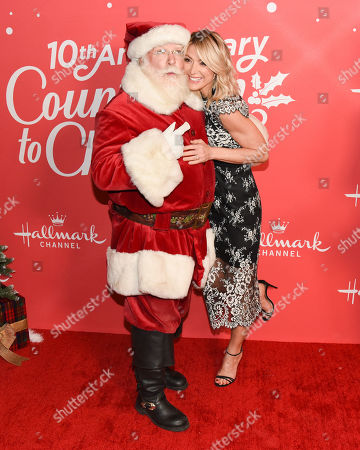 Stock Image of Debbie Matenopoulos and Santa Claus
