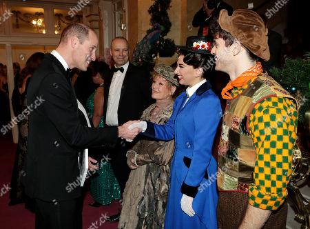 Prince William meeting Zizi Vaigncourt-Strallen (as Mary Poppins), Charlie Stemp (as Bert) and Petula Clark (as Bird Lady) at the London Palladium