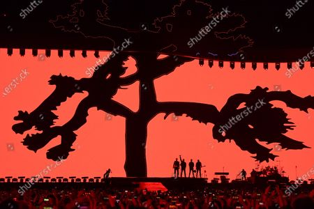 Bono, The Edge, Adam Clayton and Larry Mullen Jnr from Irish rock band U2 perform during their Joshua Tree tour at  the SCG in Sydney, Australia, 22 November 2019. The Joshua Tree Tour 2019 has seen U2 return to New Zealand and Australia for the first time since 2010.
