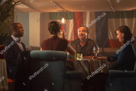 Stock Photo of Ken Nwosu as Thomas, Neil Pearson as Phil and Alexandra Roach as Jess