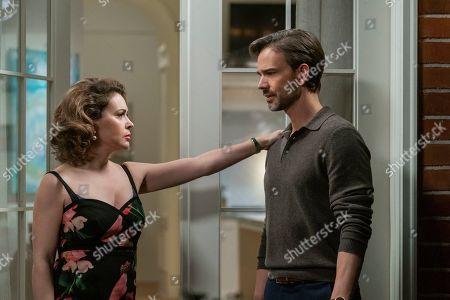 Alyssa Milano as Coralee Armstrong and Christopher Gorham as Bob Barnard